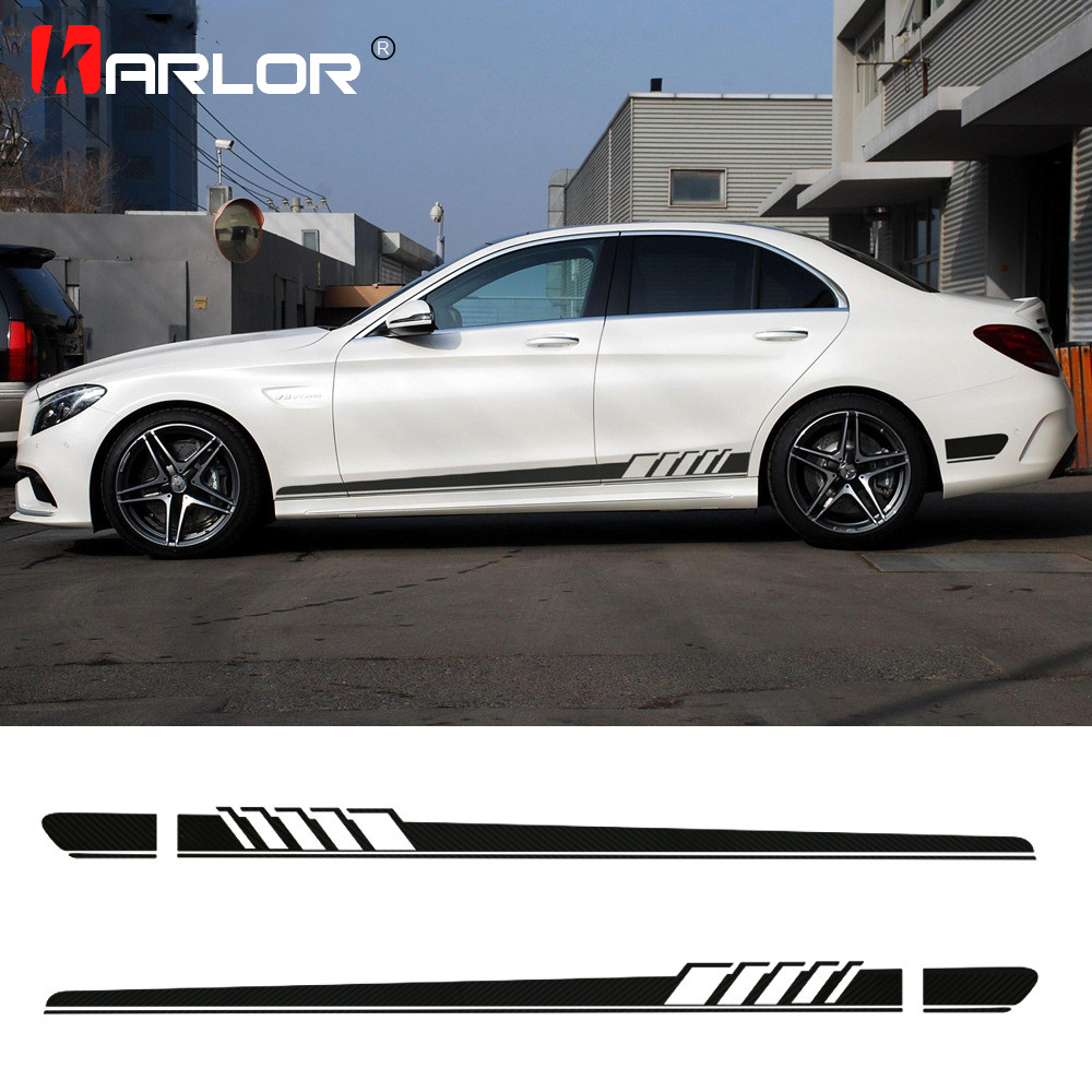2Pcs/lot Car Waist Side Skirt Decoration Stickers Decals Vinyl For Mercedes Benz W205 W203 W204 C Class Auto Car Accessories