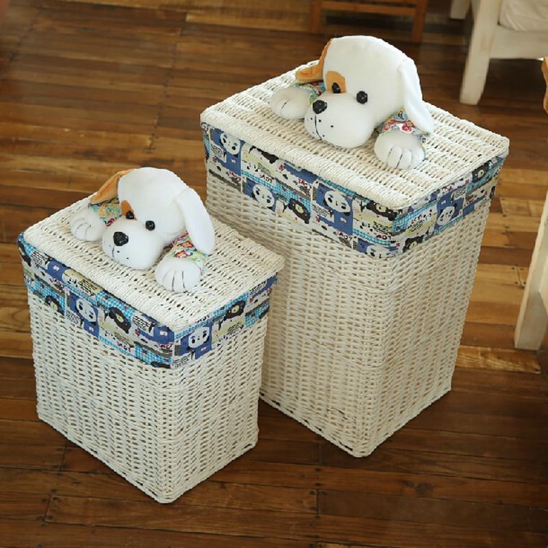 dekoratív fonott kosarak fedéllel nagy szennyes kosár a ruhákhoz - Szervezés és tárolás - Fénykép 1