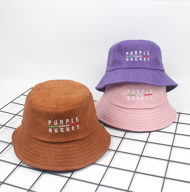 c054f896c75 2018 Autumn Winter Purple Bucket Hat Corduroy Unisex Bob Caps Hip Hop  Gorros Men Women panama warm windproof Bucket Hat -in Bucket Hats from  Apparel ...
