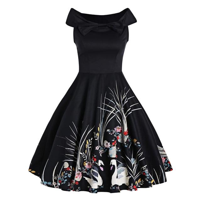 Wipalo Audrey Hepburn Robe Rockabilly Women Dress Sleeveless Swan Print  Summer Pin up 50s Vintage Dresses Party Vestidos 1f451cc9f1ec