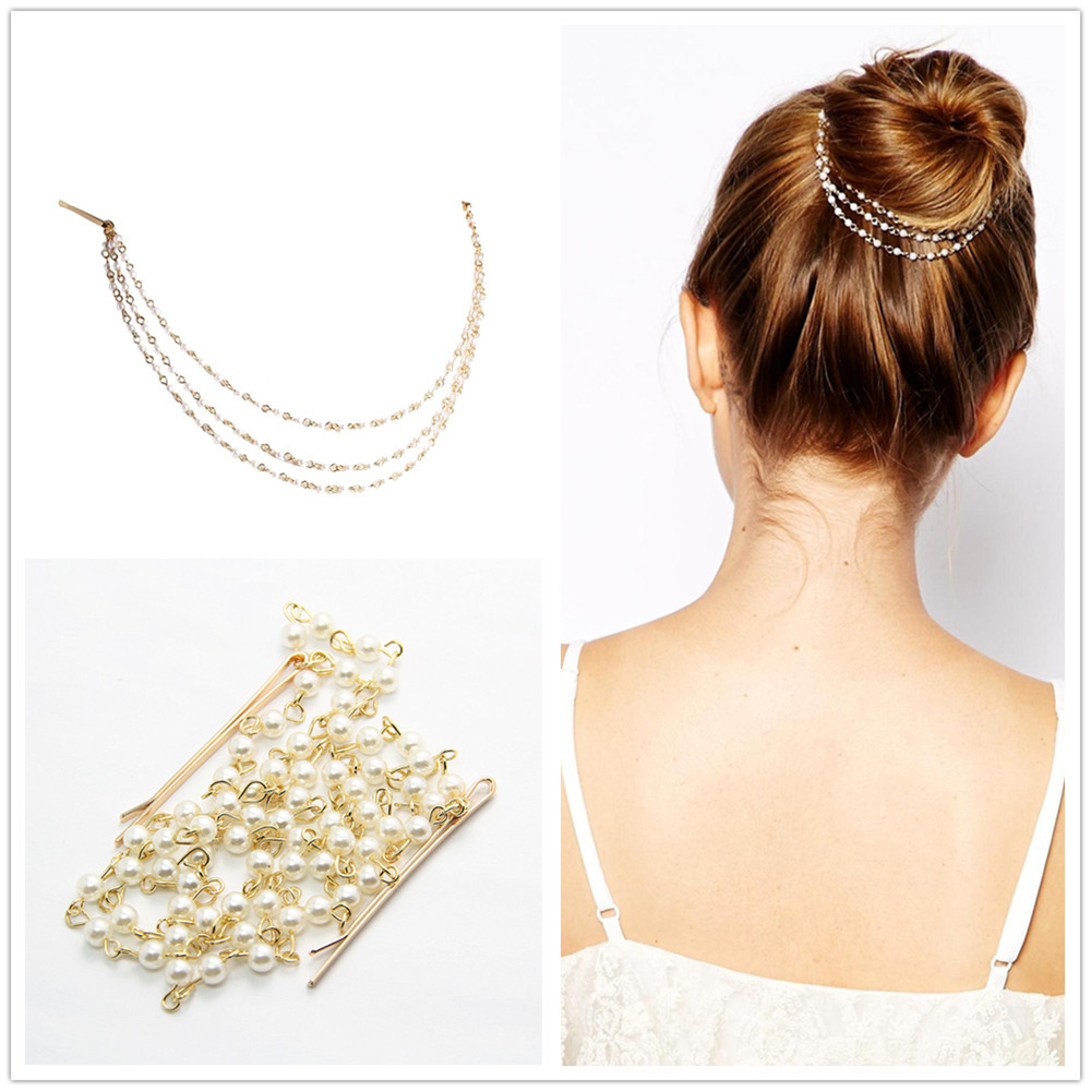 Elegant Indian Jewelry Multilayer Bridal Hair Accessories Pearls ...