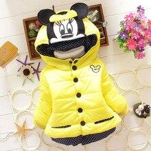 Free shipping New Children'S Winter Outerwear Girls Cartoon Minnie Coat Baby Plus Thick Wool Cotton Jacket