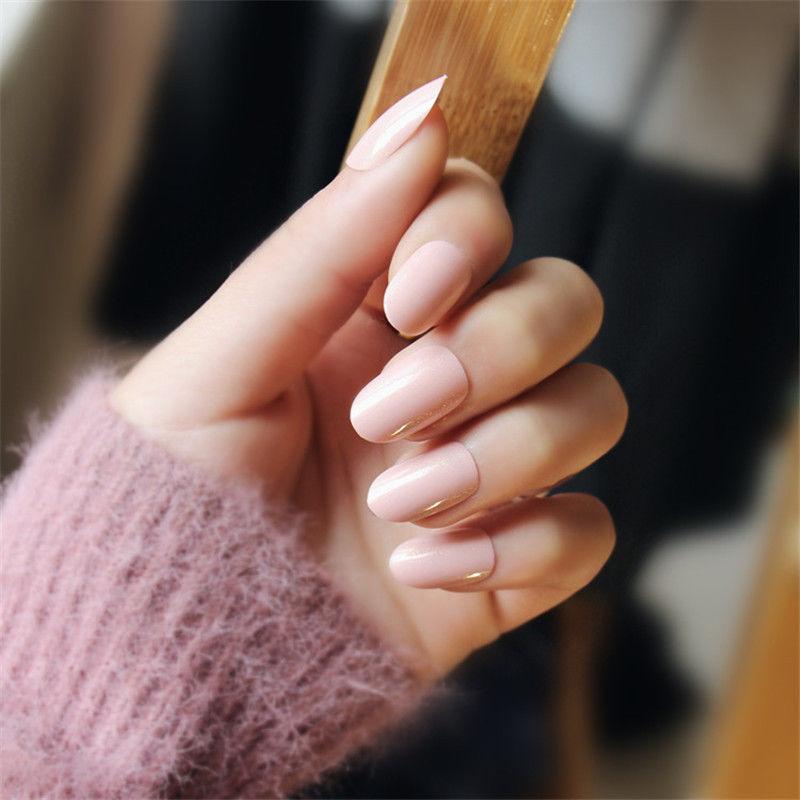 24Pcs Pink Long Stiletto Fake Nails Full False Acrylic -9511