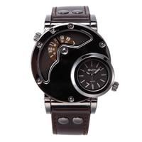 OULM Brand Watch Men Fashion Personality Leather Band Quartz Wristwatches Unique Designed 2 Time Zone Clock