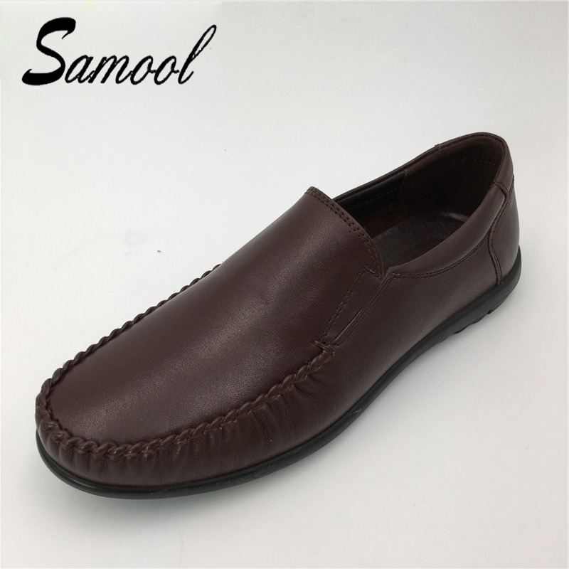 Samool Summer Soft Moccasins Men Loafers Genuine Leather High Quality Shoes Men Flats Gommino Driving Shoe plus Size 38-45 dx5 relikey brand summer slip on driving shoes for men full grain leather high quality breathable moccasins soft solid men shoes