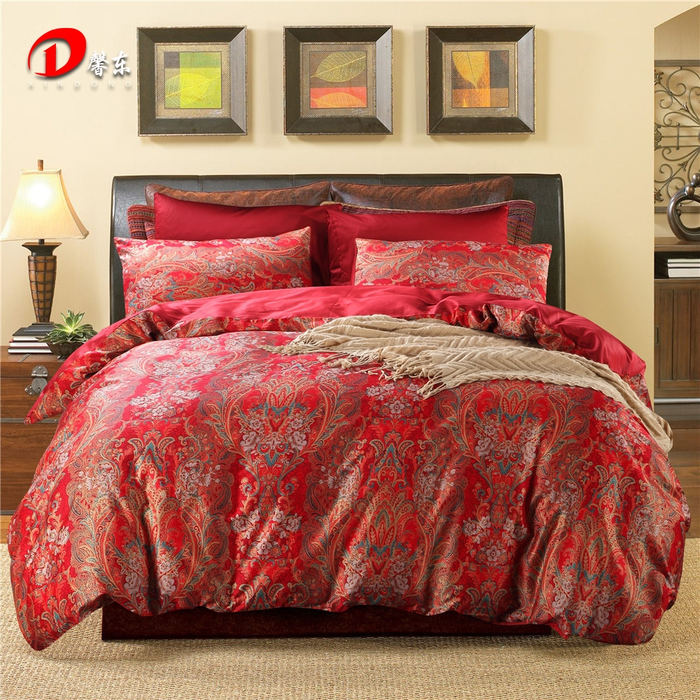 Luxury Phoenix Satin Bed Set Dark Red Egyptian Cotton