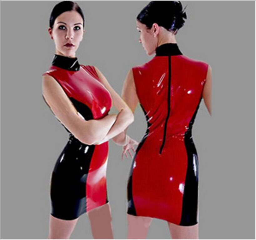 Exclusive Sexy PVC Mini Dress Women Red Black Patchwork Shiny Leather Wet Look Dress Catsuit Turtleneck Sleeveless Dress S-XXL