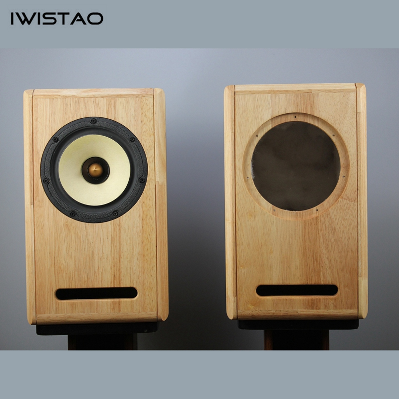 Image 3 - IWISTAO HIFI 6.5 Inches Full Range Speaker Empty Cabinet 1 Pair Finished Oak Wood Labyrinth Structure for Tube AmplifierBookshelf Speakers   -