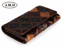 JMD Free Shipping Tanned Genuine Cow Leather Women Wallets 3 Folded Rhombus Pattern Women's Card Holder 8092-3C