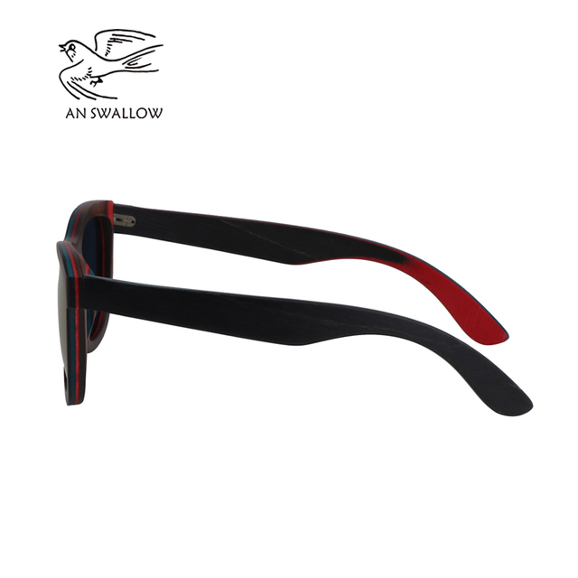 Wooden Sunglasses Blue Frame With Coating