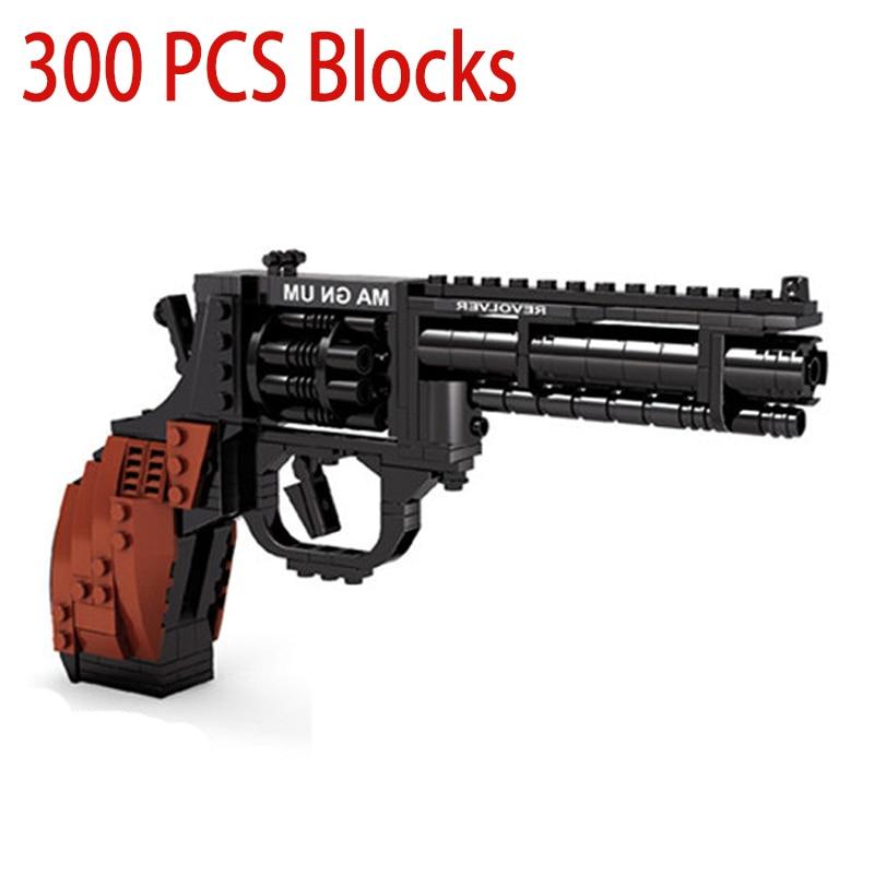 300Pcs Big Revolver Gun Model Bricks Set For Children Intellectual Educational Building Blocks Toys Boys Christmas Gift