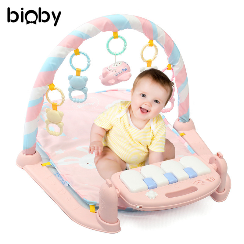 Musical Developing Gym Mat Baby Floor Rug Kids Children Fitness Rack Baby Toys Piano Music Blanket Play Intellectual Development цена 2017