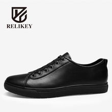 RELIKEY Brand Men Causal Shoes Handmade Genuine Leather Top Quality Lace-up Black Leisure Male Flats Spring Shoes for Men