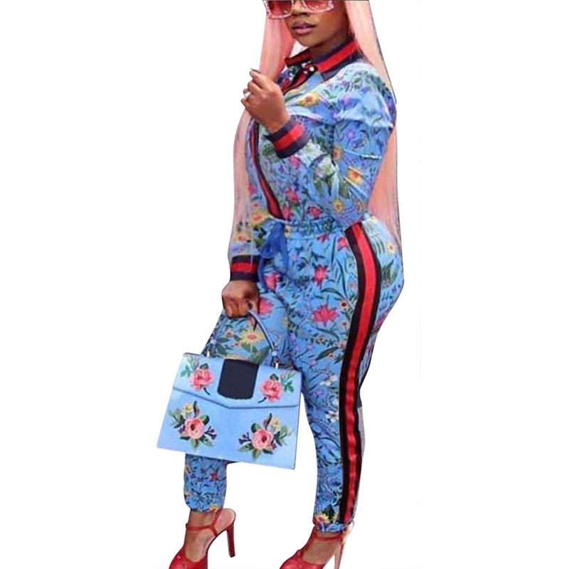 African Womens Floral Print Stripe Patchwork Casual Party High Street Skinny Long Pants Romper Jumpsuit Two Piece Set 308034