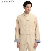 New Arrival Beige Chinese Men S Shirt Male Summer Linen Cotton Long Sleeve Hombre Camisas Size