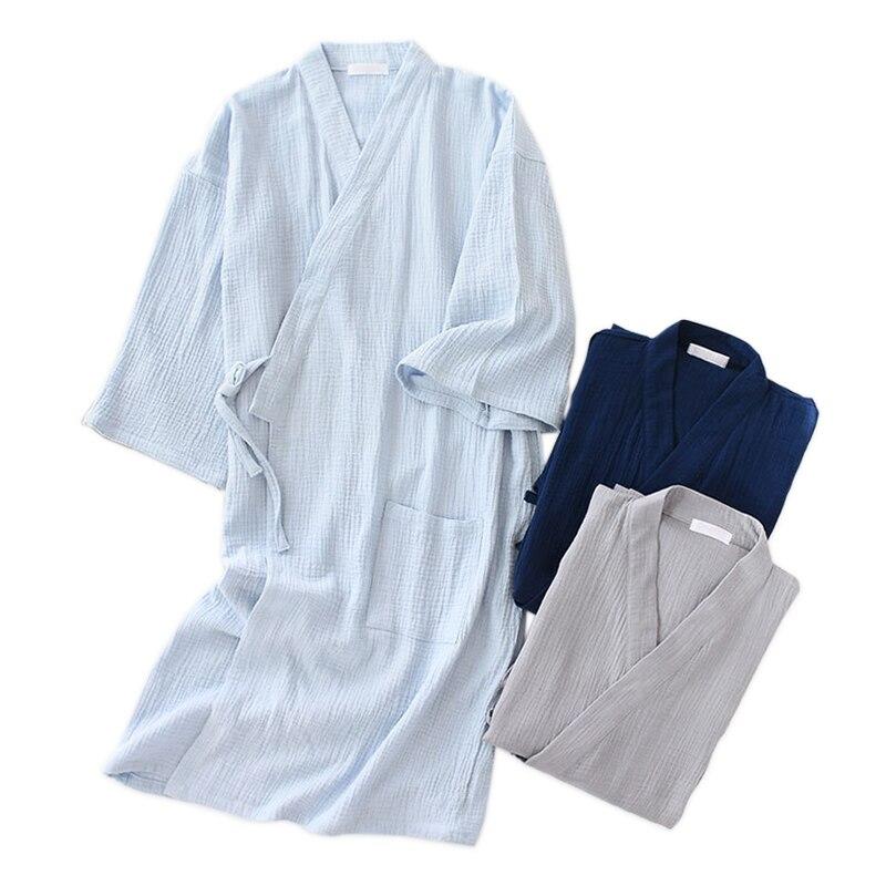 Cozy Summer Pure Cotton Kimono Robes Men 2019 Crape 100% Cotton Casual Male Bathrobes Long Sleeve SPA Japanese Robes For Men