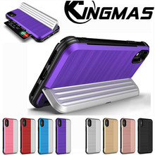 KINGMAS Credit Card Slot Holder Phone Case for iPhone XS Max XR 7 6 6s 8 Plus 7 Plus 6 Plus X Case Armor Silicone Coque