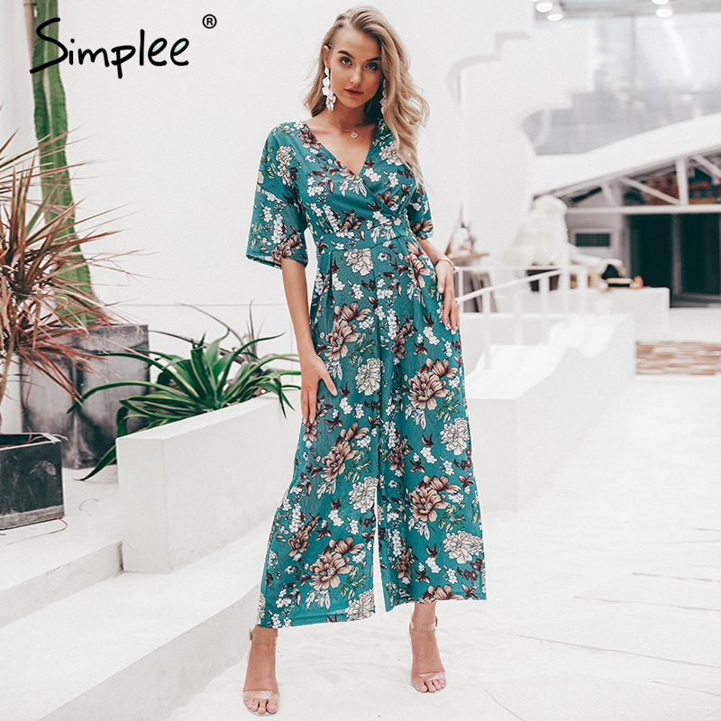 Simplee Vintage v-neck floral print women   jumpsuit   Elegant short sleeve sashes   jumpsuit   High waist summer playsuit   jumpsuit   long