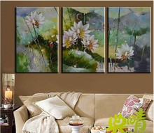 Modern fashion abstract oil  painting on canvas Hand painted impression sleeping lotus paintings NO frame