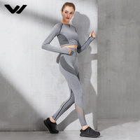 Long Sleeve Yoga Set Mesh Patchwork Women Sport Wear Fitness Clothing Breather Sports Suits Gym Clothes For Women Jogging Suits