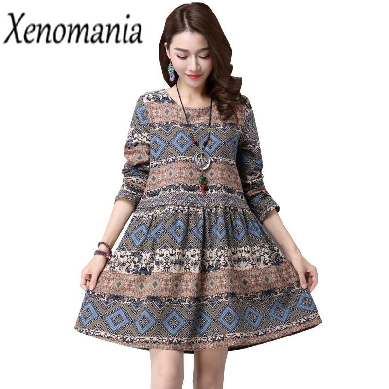Linen Dress Plus Size Winter Dress Mori Girl Autumn 2017 Vintage Boho Floral Dresses Brazil Indian Ukraine Kawaii Lolita Vestido