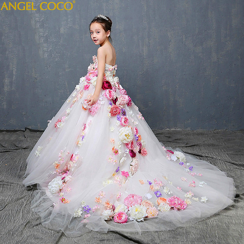 Luxury Evening Dress Flower Girl Princess Dress For Wedding Birthday Party Gown Children's Costume Teenager Prom Robe De Soiree недорого