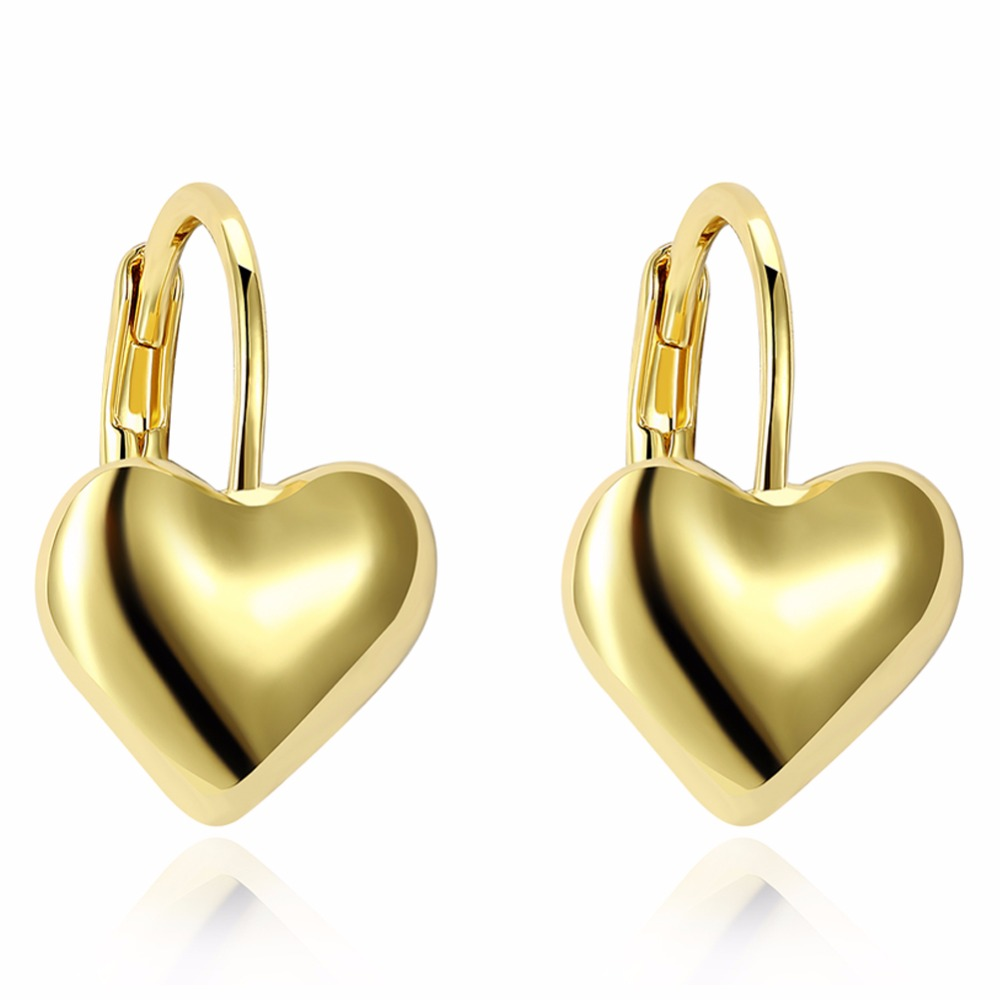 2018 Gold Color Jewelry Fashion Cute Tiny 16mmX11mm Gold Heart Stud Earrings Gift For Girls Kids Lady