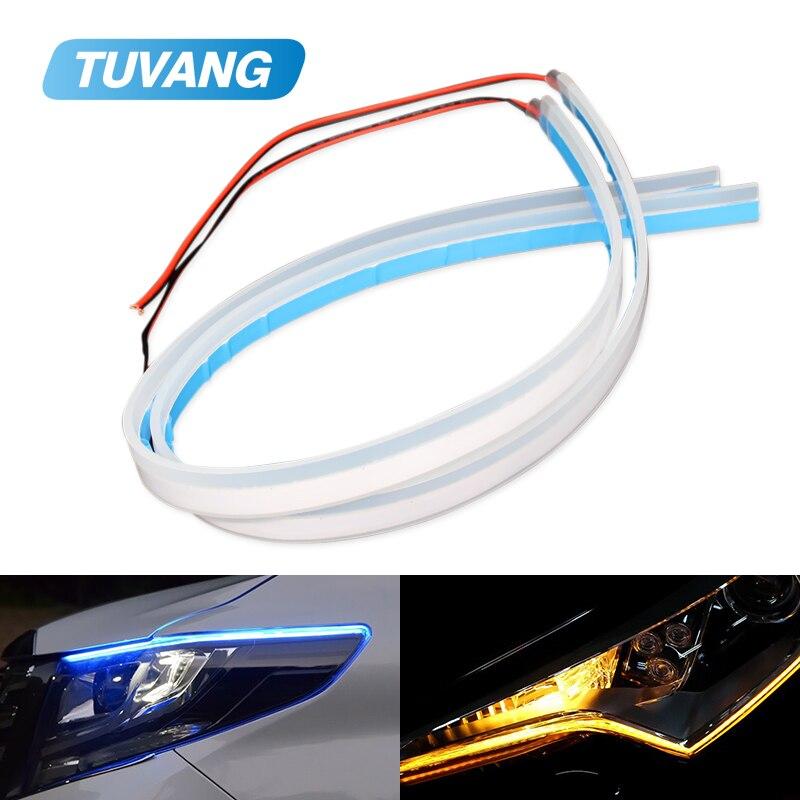 цена на 2x Ultrafine DRL Flexible LED Strip Daytime Running Lights Soft Car Headlight Turn Signal Brake Lamps 30cm 45cm 60cm 90cm 120cm