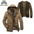 Duas Peças homens jaqueta de Inverno plus size espessamento super quente de lã forro parka homens roupas de marca afs jeep parka homens casaco de inverno