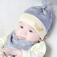 Retail And Wholesale Baby Hat Boy Girl Toddler Infant Cotton Hood Cap Bibs 2pcs Suits Beanie
