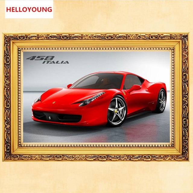 Ygs 123 Diy 5d Diamond Embroidery Red Cartoon Sports Car Round
