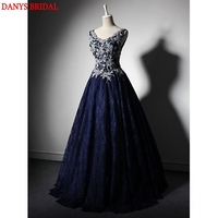 Navy Blue Long Lace Evening Dresses for Wedding Party Women Floor Length Bridal Formal Evening Gowns Dresses