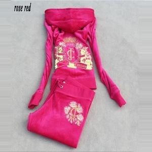 Image 3 - אביב/סתיו 2018 נשים מותג קטיפה בד אימוניות Velour חליפת WomenTrack חליפת נים ומכנסיים גודל S XXXL