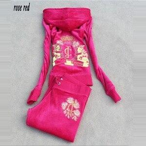Image 3 - Survêtement en tissu velours pour femme, survêtement féminin, survêtement féminin, sweat à capuche et pantalon, taille S à XXXL, printemps/automne, 2018