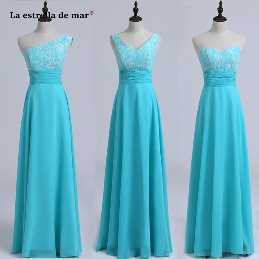 La estrella de mar robe demoiselle d'honneur new lace chiffon 3 style a line turquoise blue bridesmaid dresses long  plus size