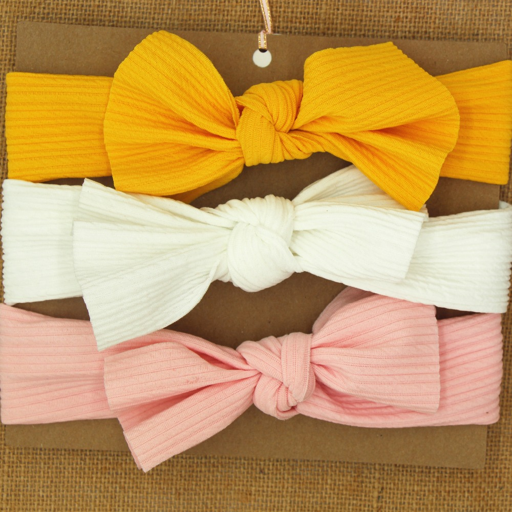 Bows Baby Headband Big Knotted Bow Hair Bands Stretchy Fabric Solid Hair Accessories For Infants