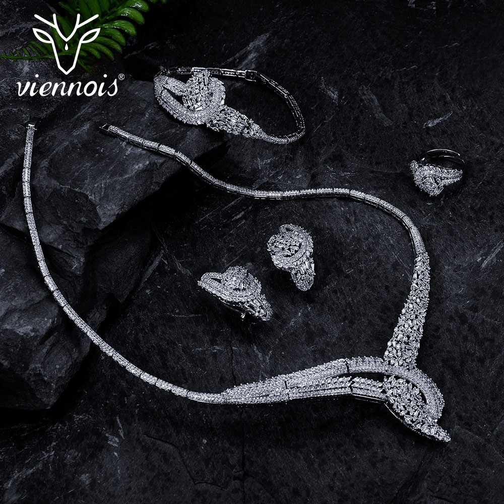 Viennois Silver Color Rhinestone women Wedding Party Jewelry Set Rhinestone Paved Necklaces Earrings Ring Set Bridal Jewelry viennois fashion jewelry silver color chain necklace with blue crystal rhinestone woman luxury wedding necklaces
