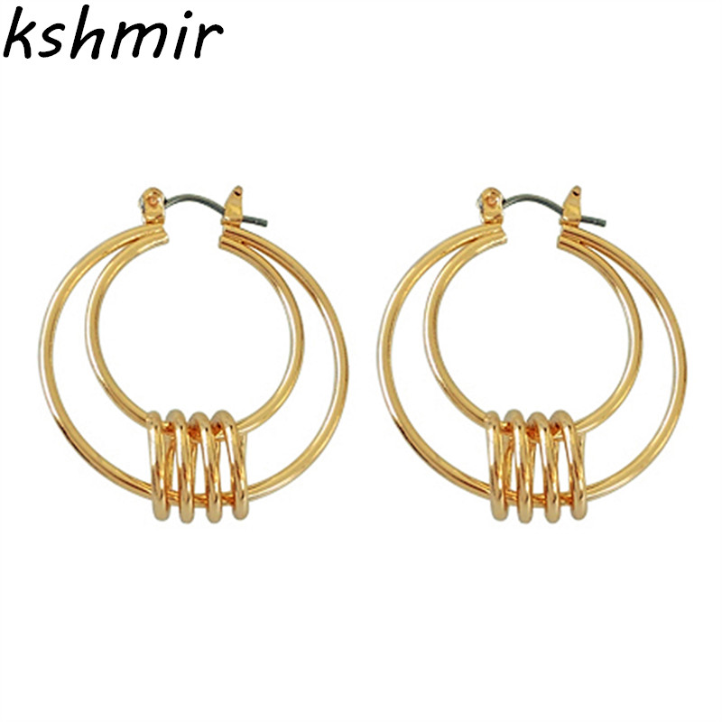 Earrings size 3.3 * 3.7 cm geometric circular ear ring earrings tide female character joker earrings earrings wholesale