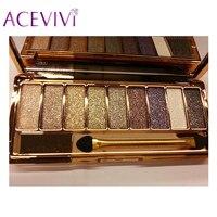 Women 9 Colors Waterproof Eyeshadow Makeup Glitter Eyeshadow Palette With Brush 31