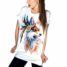 Harajuku 2019 Estate T-Shirt Donna Magliette e camicette Manica Corta Graphic Fox Stampa casual Maglietta Punk Rock Tee Shirt Femme Bianco(China)