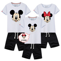 2017 Parenting Summer Short Sleeve Shorts Suit One Home Three Mouth Mother And Daughter Parenting Suit