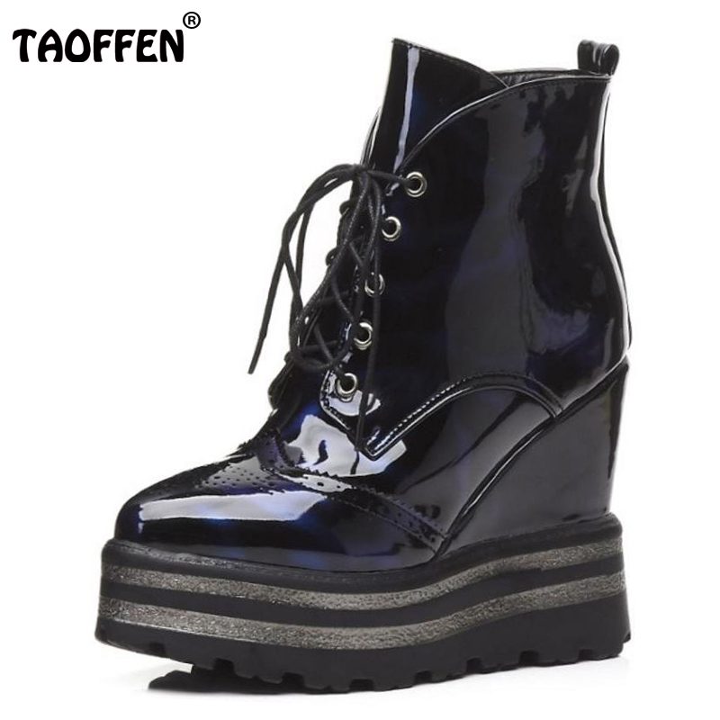 TAOFFEN Women Winter Boots Platform Wedge Heels Ankle Boots With Zipper Woman Boots High Heels Autumn Platform Shoes Size 33-42 woman wedge heel ankle boots 2015 the latest autumn winter fashion zipper pumps boots cross straps woman wedge heel ankle boots