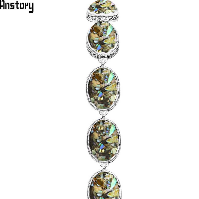 Ovale Shell Strand Armbanden Voor Vrouwen Vintage Look Antiek Verzilverd Mode-sieraden Tb288