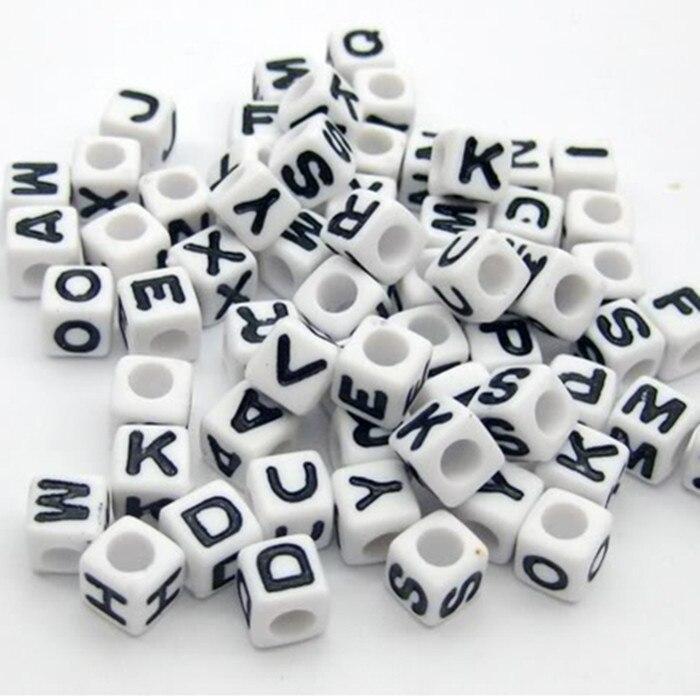 Beads Wholesale 6x6mm Big Hole Acrylic Alphabet Letter Cube Loose Diy Gold Silver Beads Loom Bracelet Making Accessories 500pcs Lb-11