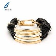 Transna Multilayer font b Gold b font Color Metal With Black Wax Line Bracelet Office career