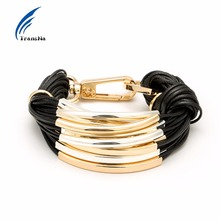 Transna Multilayer Gold Color Metal With Black Wax Line Bracelet Office/career Bracelets For Women Bileklik Pulseira Feminina