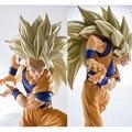 New hot 20 cm dragon ball Kakarotto Son Goku Super saiyan três danos de Batalha Edição action figure coleção de brinquedos de natal brinquedo