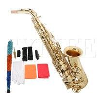 Краски золото латунь Eb альт саксофон с чехлом и аксессуары
