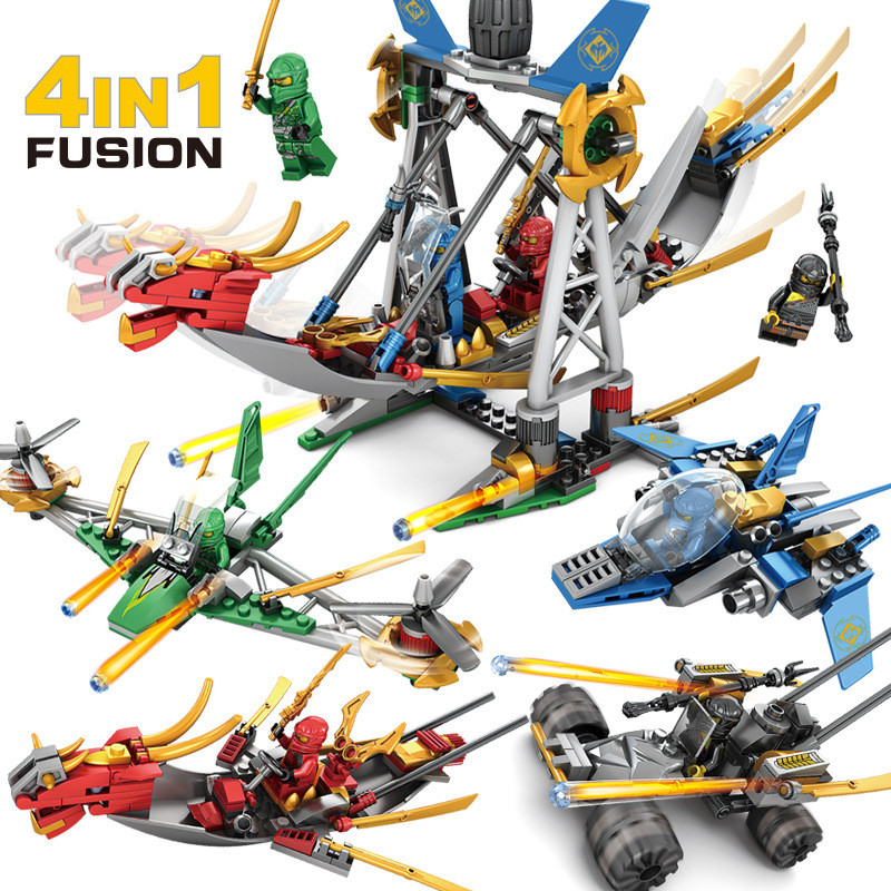 Model Building Smart 4pcs/lot Ninja Dragon Knight Building Blocks Compatible Legoing Ninjago Diy Bricks Friends Playmobil Toys Christmas Gift Blocks