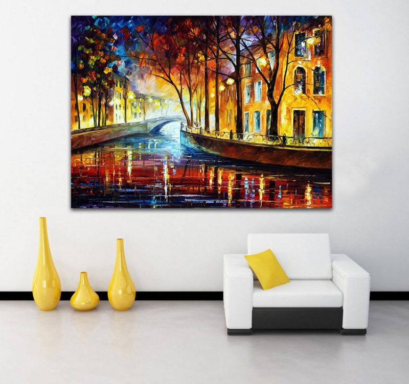 100 Hand Painted Modern Palette Knife Brooklyn Bridge Canvas Painting Decorative Pictures For Living Room Office Decoration